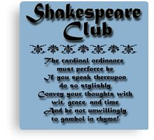 Shakespeare Club Canvas Print