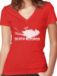 Death Records Label Women's Fitted V-Neck T-Shirt