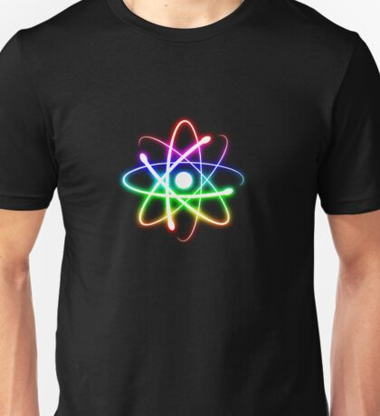 Colorful Glowing Atomic Symbol  Unisex T-Shirt