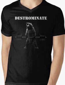 DESTROMINATE (Deadlifting Bear) Mens V-Neck T-Shirt