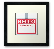 Name Badge Emoji Framed Print
