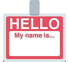 Name Badge Emoji Photographic Print