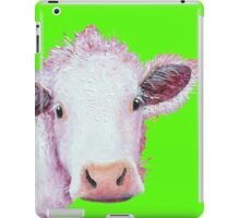 Charolais Cow painting on citrus green iPad Case/Skin