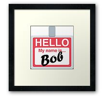 Name Badge Emoji - Customs Available! Framed Print