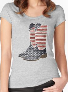 Patriotic Cowboy Boots Women's Fitted Scoop T-Shirt