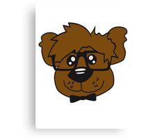 head, face, nerd geek smart hornbrille clever fly cool young comic cartoon teddy bear Canvas Print