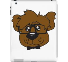 head, face, nerd geek smart hornbrille clever fly cool young comic cartoon teddy bear iPad Case/Skin