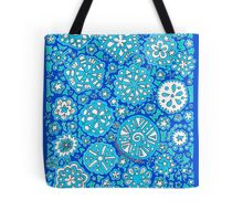 Snowflake Wishes (on Blue) Tote Bag