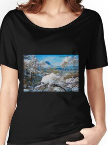 Thumb Butte, Arizona in Heavy Snow Women's Relaxed Fit T-Shirt