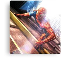 Sipderman superhero climbing the wall Canvas Print
