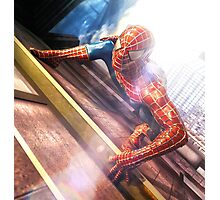 Sipderman superhero climbing the wall Photographic Print