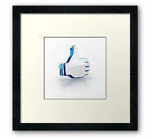 ok like thumbs up glossy 3D icon of social media Framed Print