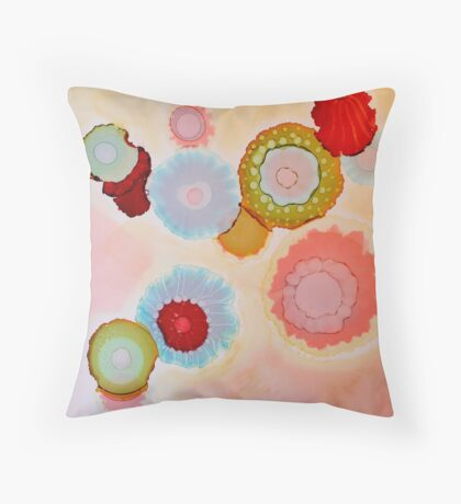 """Floating Blooms"" - Colorful Unique Original Artist's Floral Design! Throw Pillow"