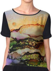 """""""Molten Mountain Dreams"""" - Colorful Unique Original Artist's Landscape! Chiffon Top"""