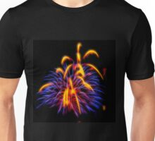 Pupr;e and Yellow Abstract Fireworks  Unisex T-Shirt