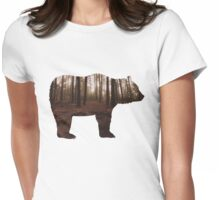 Bear & Forest Silhouette  Womens Fitted T-Shirt