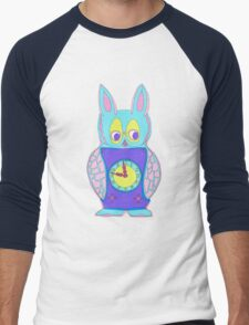 The Cute yet Creepy Rabbit Clock Men's Baseball ¾ T-Shirt