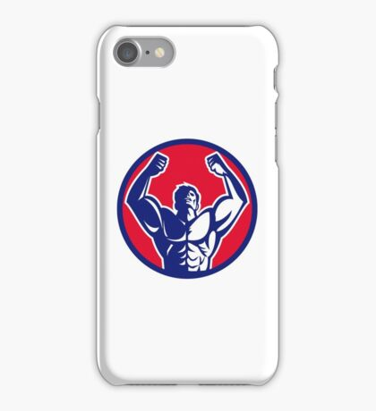 Body Builder Flexing Muscles Circle Retro iPhone Case/Skin