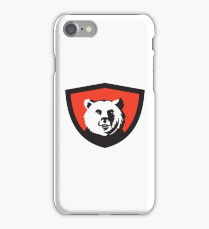 California Grizzly Bear Head Smiling Crest Retro iPhone Case/Skin