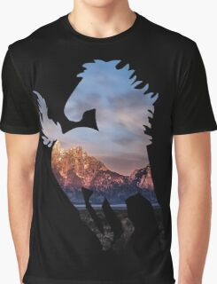 Wild Mustang Horse and Rocky Mountains Silhouette  Graphic T-Shirt