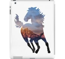 Wild Mustang Horse and Rocky Mountains Silhouette  iPad Case/Skin