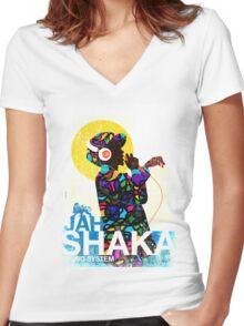 Jah Shaka Sound System Women's Fitted V-Neck T-Shirt