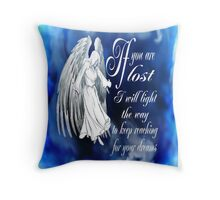 Angels Hold Me Near [blue] Throw Pillow