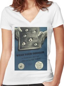Vintage poster - Navy accidents Women's Fitted V-Neck T-Shirt