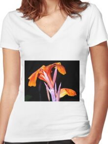 Brilliant orange canna lily Women's Fitted V-Neck T-Shirt