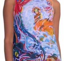 bold tiger dragon art Contrast Tank