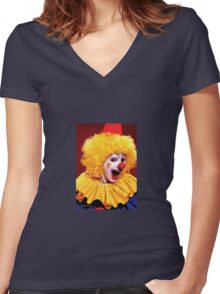 Head shot of yellow haired Clown smiling Women's Fitted V-Neck T-Shirt