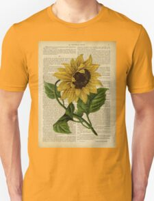 Botanical print, on old book page - flowers- Sunflower  T-Shirt