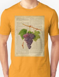 Botanical print, on old book page - Grapes T-Shirt