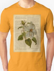 Botanical print, on old book page - flowers- White magnolia T-Shirt