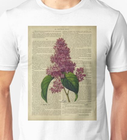 Botanical print, on old book page - flowers- Lilac Unisex T-Shirt
