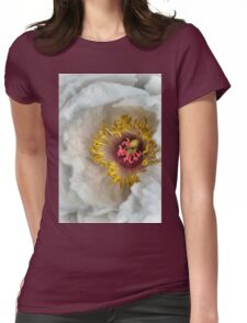 White peony flower Womens Fitted T-Shirt