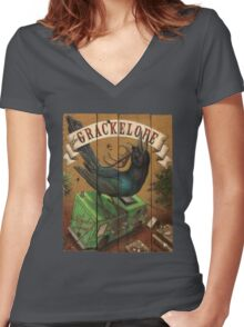 The Grackelope (color painting) Women's Fitted V-Neck T-Shirt