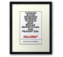 Winter Soldier Activation Code Words - Plain Framed Print