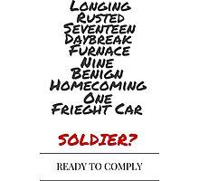 Winter Soldier Activation Code Words - Plain Photographic Print