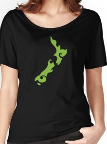 New Zealand tattoo stylized map in green Women's Relaxed Fit T-Shirt