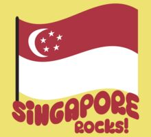 Singapore Rocks! with waving flag Kids Tee