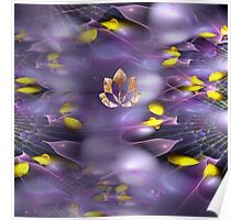 Floating Lotus in violet and yellow Poster