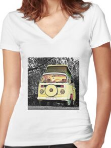 Slow Bus Women's Fitted V-Neck T-Shirt