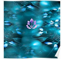 Floating Lotus in violet and sky blue Poster