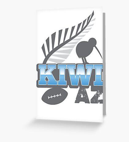 KIWI AZ with New Zealand kiwi bird rugby ball and silver fern Greeting Card