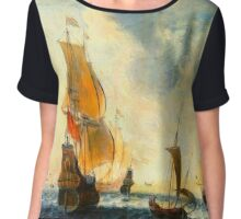 Old Dutch Sailing Ships Chiffon Top