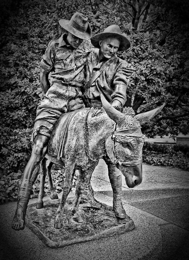 Simpson And His Donkey, 1915 (B&W) by TonyCrehan