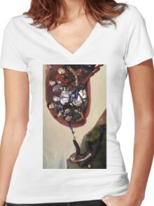 ME sistine chapel parody Women's Fitted V-Neck T-Shirt