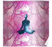 Floating Yogi in the Trees in magenta Poster