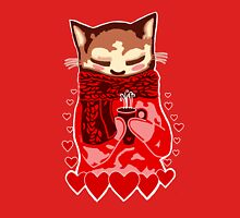 Cozy Cat & Hearts Womens Fitted T-Shirt